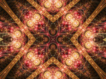 Golden fractal mandala, digital artwork Royalty Free Stock Photos