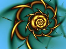 Golden Fractal Spiral Stock Photos