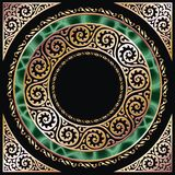 Golden frame. Golden circle frame with malachite. Separated by layers and groups for easy edit Royalty Free Stock Photography
