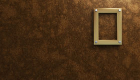 Golden Frame. A 3D Frame Placed on a wooden wall Royalty Free Stock Image