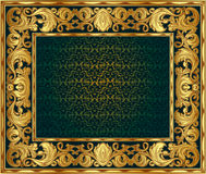 Golden frame. Gold ornate frame. You can disable the internal red background and insert your royalty free illustration