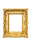 Golden frame. Ancient carved golden frame isolated over white background stock photos