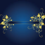 Golden frame. Golden floral frame on blue background Stock Illustration