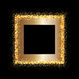 Golden frame on black background Stock Photo