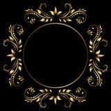 Golden frame on black background royalty free stock images
