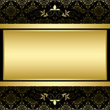 Golden frame on black vintage pattern - vector Stock Images