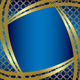 Golden frame with blue background - vector Royalty Free Stock Image