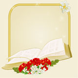 Golden frame with book hibiscus and jasmine  vector Stock Photos