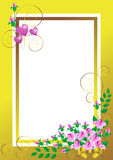 Golden frame with a bouquet of roses.Banner.Postca Royalty Free Stock Photography