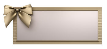 Golden frame with bow 3d render Royalty Free Stock Photo