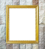 Golden frame on brick stone wall background Royalty Free Stock Image