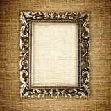 Golden frame on canvas Stock Photos