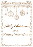 Golden frame christmas background with baubles and snowflakes  illustration Stock Photos