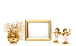 Golden frame Christmas decorations Angel Stock Photography