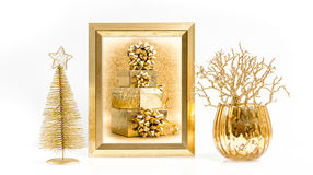 Golden frame, Christmas decorations and ornaments Stock Photography