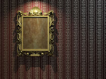 Golden frame on classic wallpaper Royalty Free Stock Images