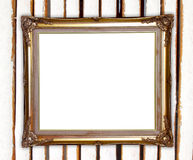 Golden frame on colorful bamboo wall background Stock Photos