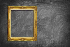 Golden Frame on Concrete Wall Royalty Free Stock Photo