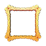 Golden frame. 3d golden square ornamented frame stock illustration