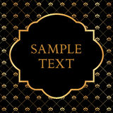 Golden frame on damask black background Stock Photos
