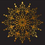 Shiny gold circular ornament on a black background vector illustration