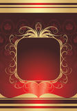 Golden frame on the decorative red background Royalty Free Stock Image