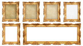 Golden frame with different empty cracked canvas Stock Image