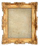 Golden frame with empty cracked canvas for your picture Royalty Free Stock Photography