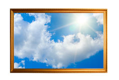 Golden frame filled with sky Stock Photos
