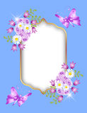 Golden frame and flowers Stock Photography