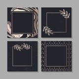 Golden Frame fluid art vector Geometric elegant background cover set texture. Leave vector illustration