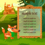 Golden frame, fox and wooden castle in woodland Stock Images
