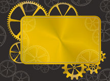 Golden frame with gear Stock Images