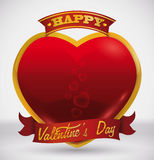 Golden Frame for Glossy Red Heart with Valentine's Day Message, Vector Illustration Royalty Free Stock Photos