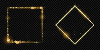 Golden frame gold glitter light particles vector square sparkling black background stock illustration