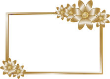 Golden frame with golden flowers Stock Photo