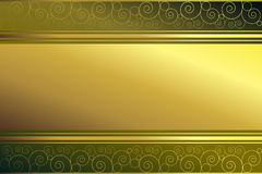 Golden frame on green background. Golden frame on a green background with golden spirals Royalty Free Stock Images