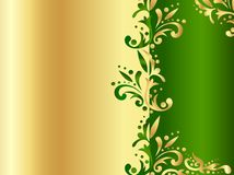 Golden frame with green decor and space Stock Photos