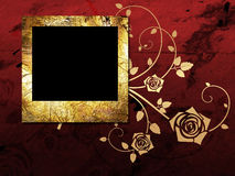 Golden frame on grunge background Stock Photos