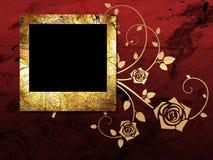 Golden frame on grunge background Stock Photos