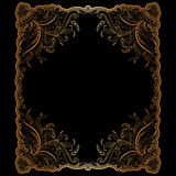 Golden frame with hand-drawing ornament Royalty Free Stock Photo