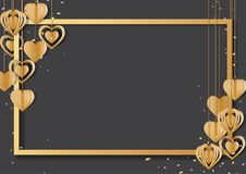 Golden frame and hanging hearts shape on black background. Happy valentine`s day greeting card with golden frame and hearts hanging on black background.Vector Royalty Free Stock Images