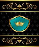 Golden frame with heraldic elements Royalty Free Stock Photo