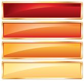 Golden frame hot. Buttons in hot colors with golden frame Stock Photos