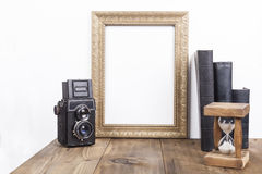 Golden Frame With Hourglass Stock Photos