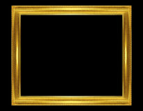 Golden frame isolated on the black background Royalty Free Stock Photos