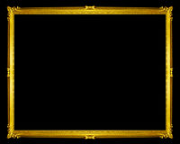 golden frame isolated on black background, clipping path. Stock Photos