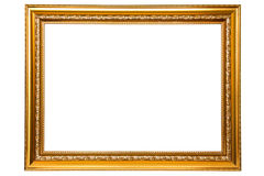 Golden frame. Isolated on white background Stock Photos