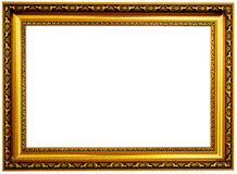Golden frame. Isolated on white background Royalty Free Stock Photography