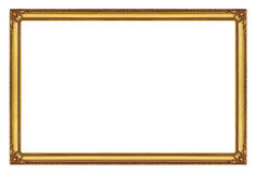 Golden frame isolated on white background with clipping path stock photos
